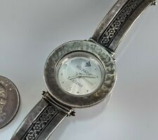 Band Watch T1749 Excellent Condition Silpada Sterling Silver Hammered Flower