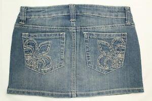 Chiqle Women's Denim Blue Embroidred Stretch Mini Skirt