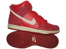 NIKE DUNK HIGH SKINNY SIZE 8 - GYM RED SANDTRAP LEOPARD [429984-603]