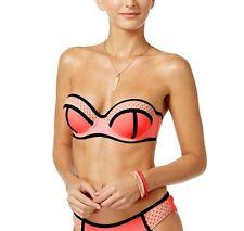 California Waves coral crochet push up underwire bikini top L