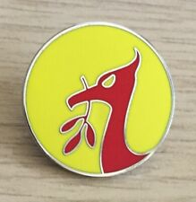 LIVERPOOL LIVER BIRD ROUND HARD ENAMEL PIN BADGE- RED AND YELLOW
