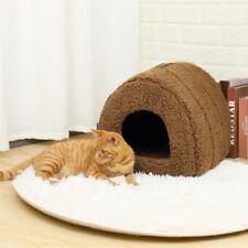 Brown Soft Pet Cat/Kitten Dog/Puppy Fleece Igloo Bed Warm House/Tunnel/Snug Cave