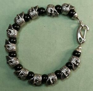 Blackjack Stainless Steel Onyx Skull Bracelet 8 Inches Antiqued Silver Tone