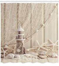 Wooden Lighthouse Marine Fishing Net Sea Stars Shells Extra Long Shower Curtain