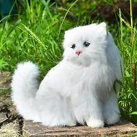 Lifelike White Persian Cat Figurine Rabbit Fur Realistic Furry Animal Plush Toy