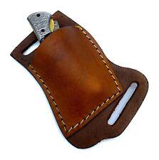 "Handmade Folding Knife Leather Sheath Pocket Knife Leather Sheath 3""—4"" Knife."