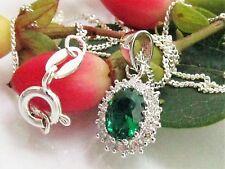 Markenlose Ovale Echte Edelstein-Halsketten & -Anhänger im Collier-Stil aus Sterlingsilber