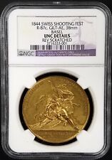 1844 Swiss Shooting Fest Medal, R-87c, Gilt-AE, 38mm, Basel, UNC Details by NGC!