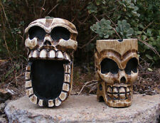 Skull Skeleton Ashtray Wood Carving Statue Pirate Man Cave Tiki Bar Set of 2
