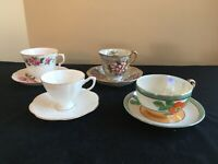 Set of Four Bone China Cups & Saucers (T&T, Queen Anne) Japan/England