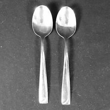2 Pfaltzgraff Portrait Stainless Place Oval Soup Spoon Tablespoon Straight Ridge