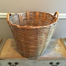 Vintage Woven Rattan Wicker Farm House Large Laundry Gathering Basket 2 Handles