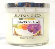 Bath Body Works ISLAND COLADA 3 wick 14.5oz jar Candle Pineapple Coconut SLATKIN