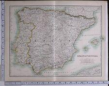 1915 LARGE MAP SPAIN & PORTUGAL NEW CASTILE ARAGON NAVARRA GALICIA LISBON