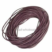 100% Real Round Leather Cord String Lace Thong Jewellery 1,1.5,2,2.5,3MM Pick