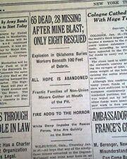 WILBURTON OKLAHOMA No. 21 Mine Explosion Miners Disaster 1926 Old Newspaper