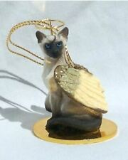 Eyedeal Figurines Black and White Cat Tabby Miniature Angel Christmas Ornament CTA02