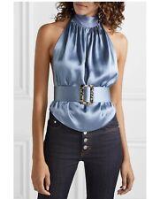 Harmur Open Back Silk Satin Backless Top Blue From Net A Porter - Small/Medium
