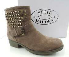 Steve Madden Outlaw Studded Ankle Boot Booties Suede Taupe Size 8.5