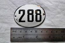 VINTAGE Enameled Porcelain Tin SIGN Number 288 - 2.4 in - 1.8 in small RARE K 8d