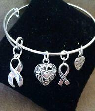 Expandable Bangle Charm Bracelet Silver Awareness Support Ribbon