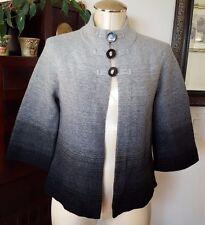 JONES NEW YORK Wool Blend Gray to Black 3 Button Swing Style Cardigan Sweater PP