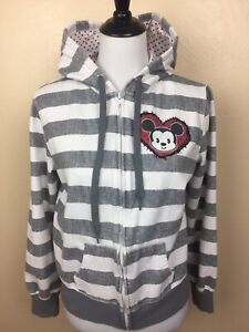Disney zip hoodie gray White Strip fleece Mickey women's junior XL 15/17 Cuties