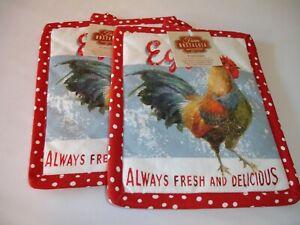 New! S/2 Fresh Eggs Rooster Potholders Kitchen Potholder Set Cotton Potholders
