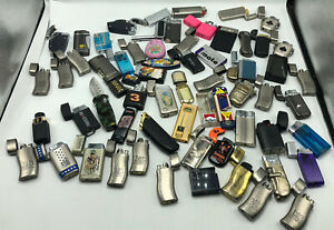 62 Vintage Lighter Lot Mostly Butane Lighters As Found Well Used