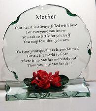 Unique Occasion Cellini Gifts Mother Poem Cut Glass Plaque Souvenir #1