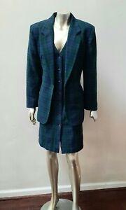 VINTAGE PLAID WOOL BLEND BUTTON DOWN JUMPER DRESS JACKET 2 PC DRESS SUIT sz 12