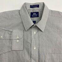 Stafford Dress Shirt Mens 18 Gray Black White 34-35 Sleeve Wrinkle Free Check