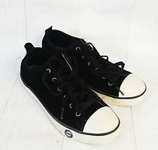 UGG Black Suede Leather 1888 Evera Sheepskin Lined Sneakers Shoes Women 8 6.5 39