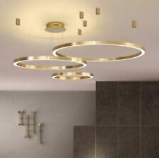 1 2 3 Gold Ring Dimmable Pendant Light LED Chandelier Lamp Dining Living Room