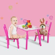 Childrens Desk and Two Chairs Kids Wooden Table Chair Set Pink Flowers