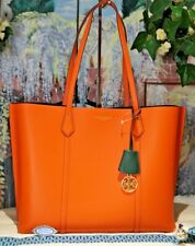 NWT TORY BURCH PERRY TRIPLE COMPARTMENT CANYON ORANGE Leather Tote Shoulder Bag