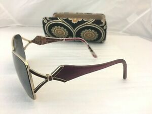 Vera Bradley Very Berry Paisley Sunglass Case & Frames 60-15-125 Polarized Retro