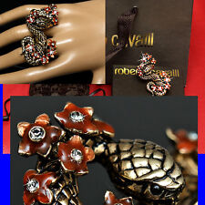 $615 ROBERTO CAVALLI Ladies DOUBLE COBRA JEWELED RING w/ Box & Bag