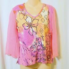 Le Mieux Studio Pink Beaded Floral Print Sheer Sleeve Top Size Medium-B8