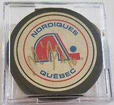 Michel Goulet signed VINTAGE RARE ZIEGLER hockey puck Quebec Nordiques HOLE!