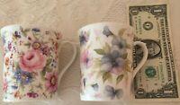 "Lot of 2 Flowery Mugs Royal Stuart EnglandFine Bone China 3-1/2"" High Excellent"