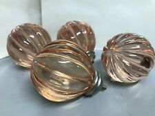Lot Of 4 Vintage Pink Depression Glass Cabinet Door Pulls Home Hardware Decor 4""