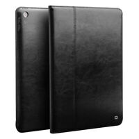 2019 iPad 10,2 Schwarz Qialino Echt Leder Book Flip Case Smart Cover Schutzhülle