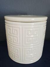 Jonathan Adler Ceramic White Creme Ivory Canister Lidded Jar Classic Decor