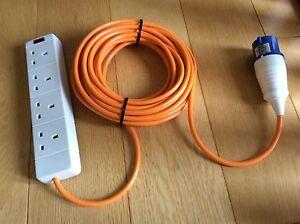 3 meter 4 Way Electric Hook Up Lead - Orange Cable - Camping Caravan Tent Power