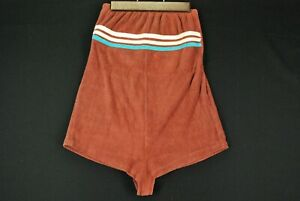 Vintage 70s Terry Cloth One Piece Tube Top Brown Striped Suit Womens