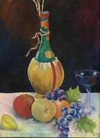 VINTAGE WINE BOTTLE GLASS GRAPES APPLE LEMON ORANGE FRUIT STILL LIFE PAINTING