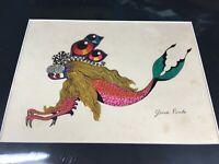 Gina Marie Pinto Drawing Of Mermaid Creature Artwork Original Signed Framed cat