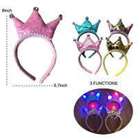LIGHT UP PRINCESS NOODLE HEAD BAND WITH CROWN flashing lights party hat FUN NEW