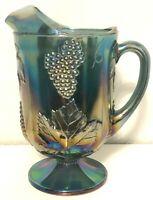 Blue Iridescent Carnival Glass Harvest Grape Large Vintage Pitcher